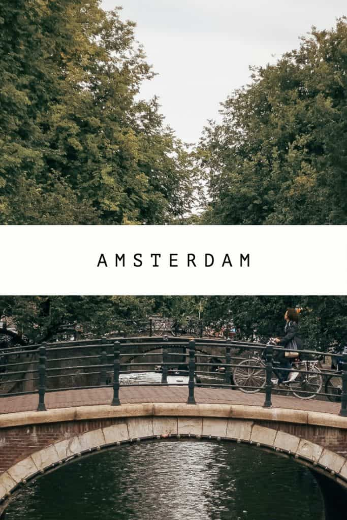bridge in Amsterdam and text Amsterdam
